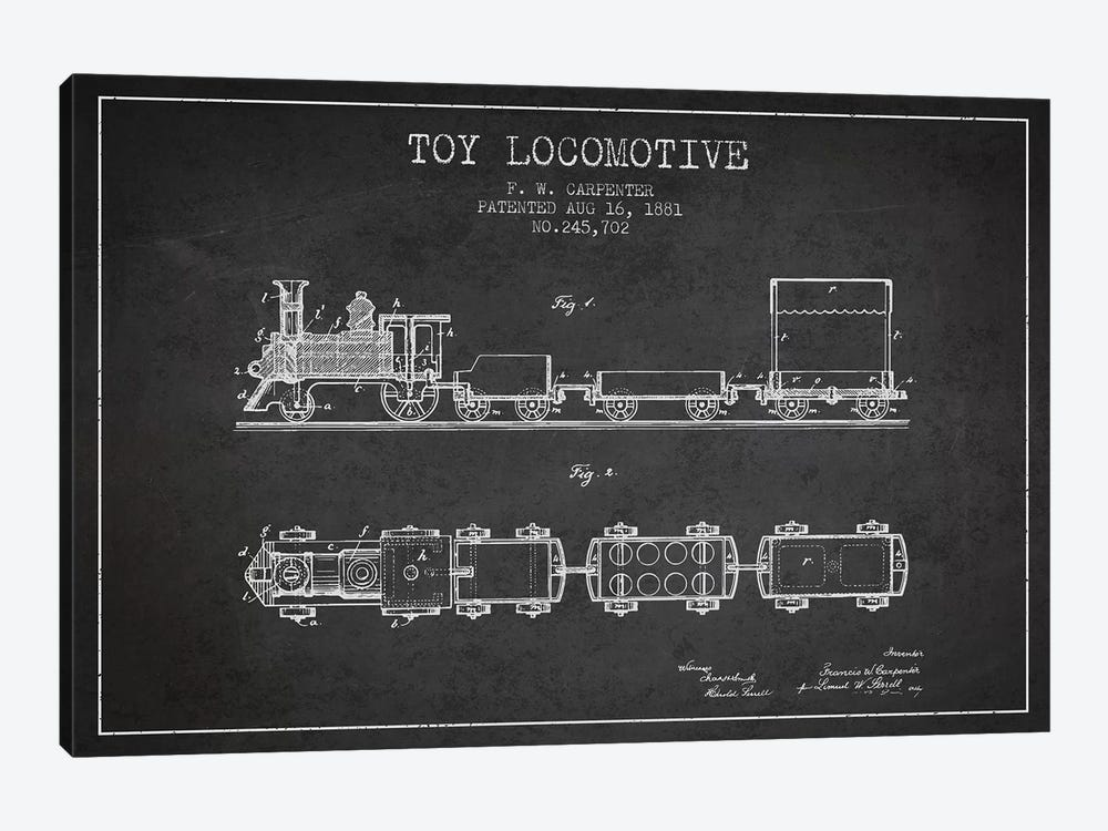 F.W. Carpenter Toy Locomotive Patent Sketch (Charcoal) by Aged Pixel 1-piece Canvas Artwork