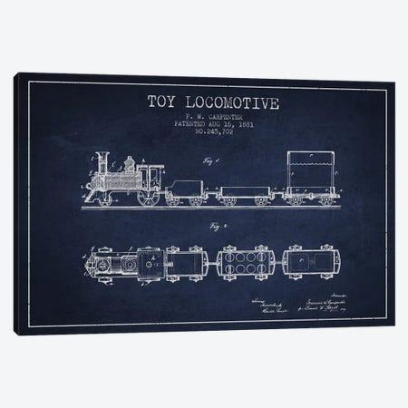 F.W. Carpenter Toy Locomotive Patent Sketch (Navy Blue) Canvas Print #ADP2873} by Aged Pixel Canvas Art Print