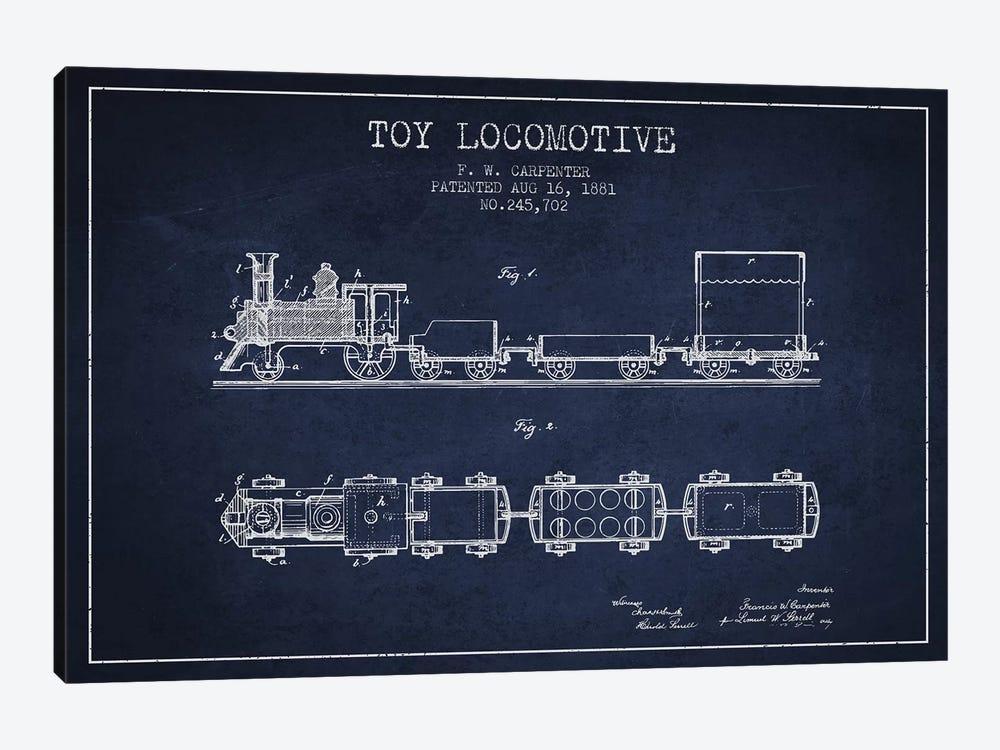 F.W. Carpenter Toy Locomotive Patent Sketch (Navy Blue) by Aged Pixel 1-piece Art Print