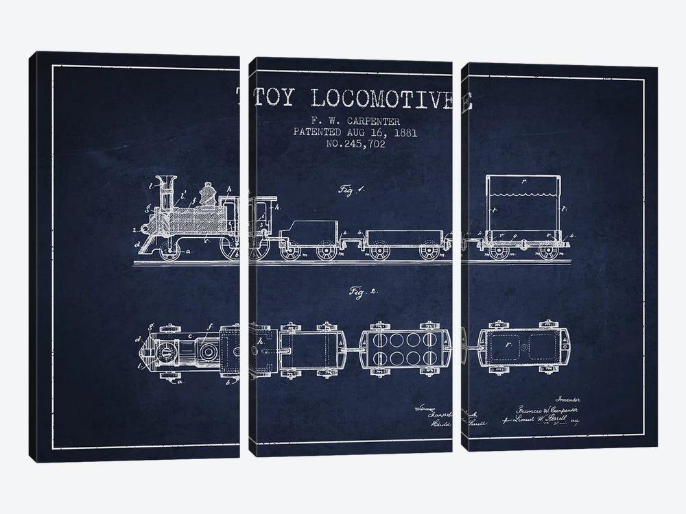 F.W. Carpenter Toy Locomotive Patent Sketch (Navy Blue) by Aged Pixel 3-piece Canvas Art Print