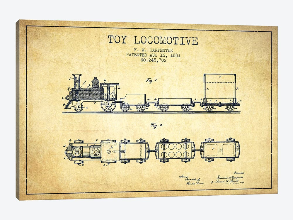 F.W. Carpenter Toy Locomotive Patent Sketch (Vintage) by Aged Pixel 1-piece Canvas Art