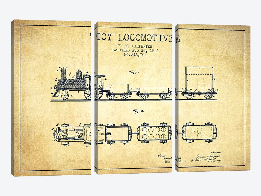 F.W. Carpenter Toy Locomotive Patent Sketch (Vintage) by Aged Pixel 3-piece Canvas Art