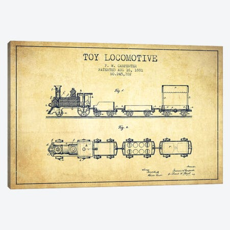 F.W. Carpenter Toy Locomotive Patent Sketch (Vintage) Canvas Print #ADP2874} by Aged Pixel Canvas Art