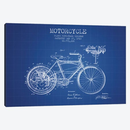 Floyd Bingham Motorcycle Patent Sketch (Blue Grid) Canvas Print #ADP2875} by Aged Pixel Canvas Artwork