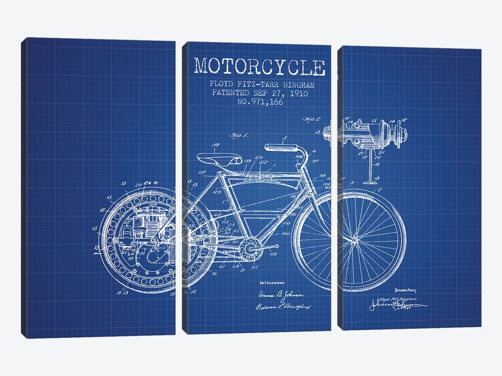 Floyd Bingham Motorcycle Patent Sketch (Blue Grid) by Aged Pixel 3-piece Canvas Art Print
