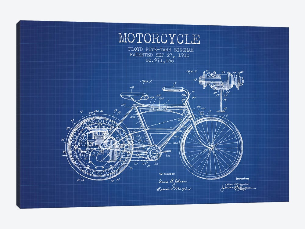Floyd Bingham Motorcycle Patent Sketch (Blue Grid) by Aged Pixel 1-piece Canvas Print