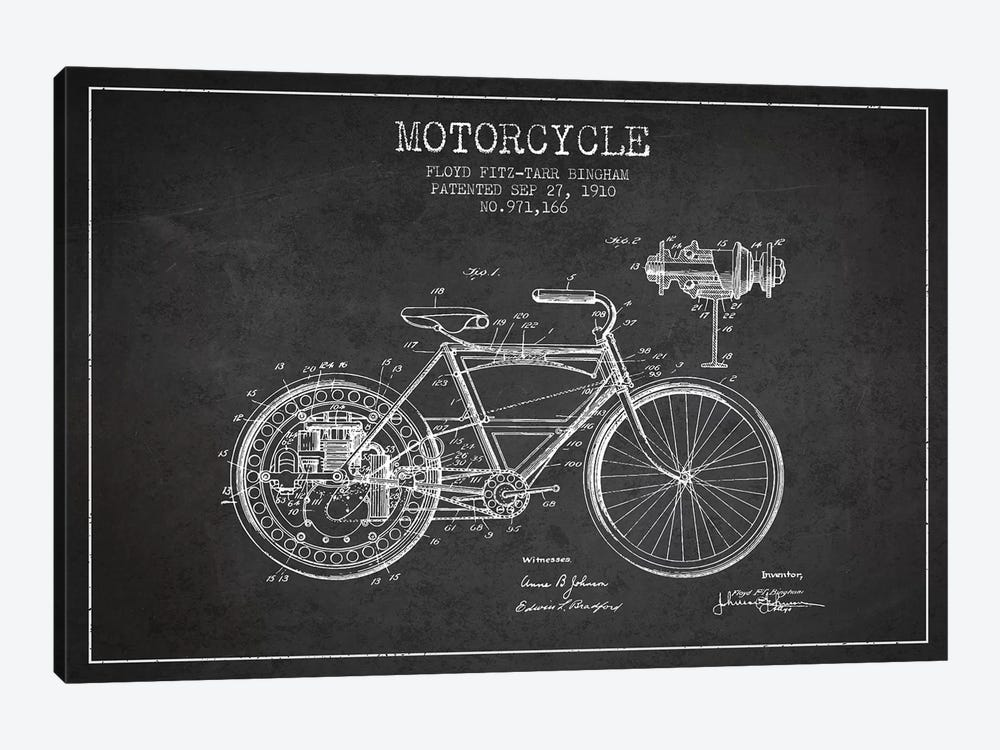 Floyd Bingham Motorcycle Patent Sketch (Charcoal) by Aged Pixel 1-piece Canvas Art