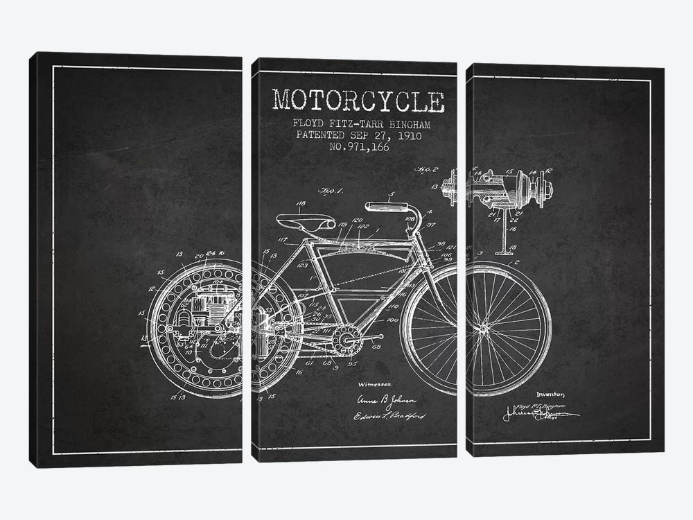 Floyd Bingham Motorcycle Patent Sketch (Charcoal) by Aged Pixel 3-piece Canvas Wall Art