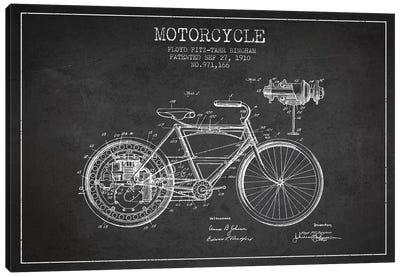 Floyd Bingham Motorcycle Patent Sketch (Charcoal) Canvas Art Print