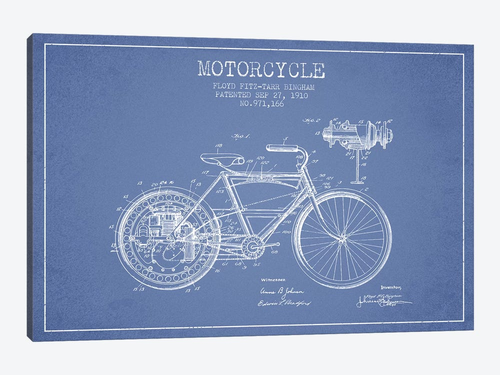 Floyd Bingham Motorcycle Patent Sketch (Light Blue) by Aged Pixel 1-piece Art Print