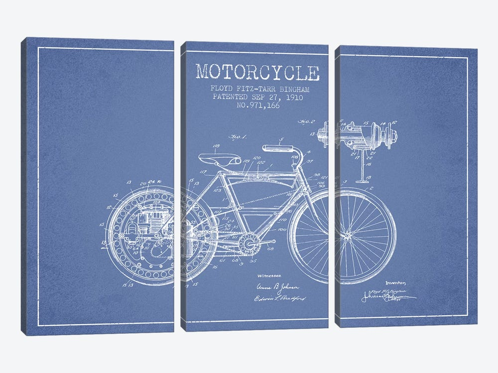 Floyd Bingham Motorcycle Patent Sketch (Light Blue) by Aged Pixel 3-piece Art Print