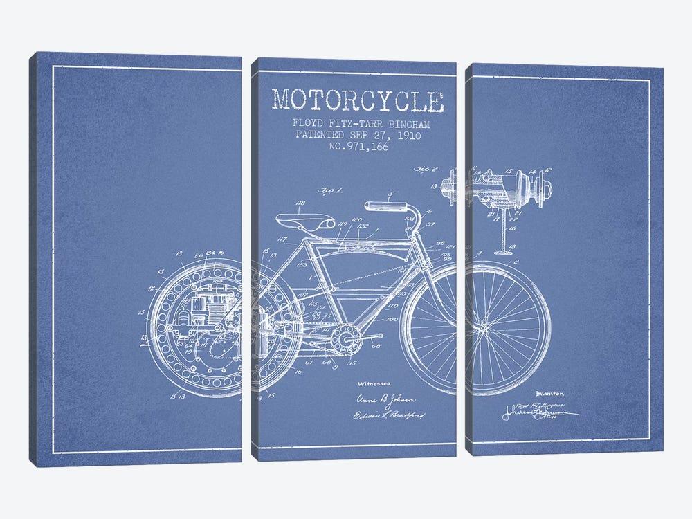 Floyd Bingham Motorcycle Patent Sketch (Light Blue) by Aged Pixel 3-piece Art Print