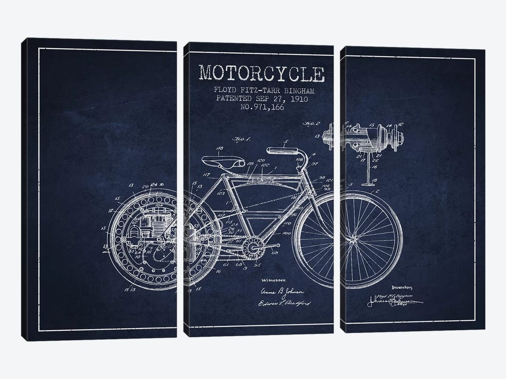 Floyd Bingham Motorcycle Patent Sketch (Navy Blue) by Aged Pixel 3-piece Canvas Artwork