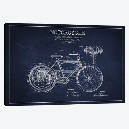 Floyd Bingham Motorcycle Patent Sketch (Navy Blue) Canvas Print #ADP2878} by Aged Pixel Art Print