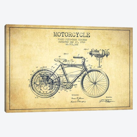 Floyd Bingham Motorcycle Patent Sketch (Vintage) Canvas Print #ADP2879} by Aged Pixel Canvas Art Print