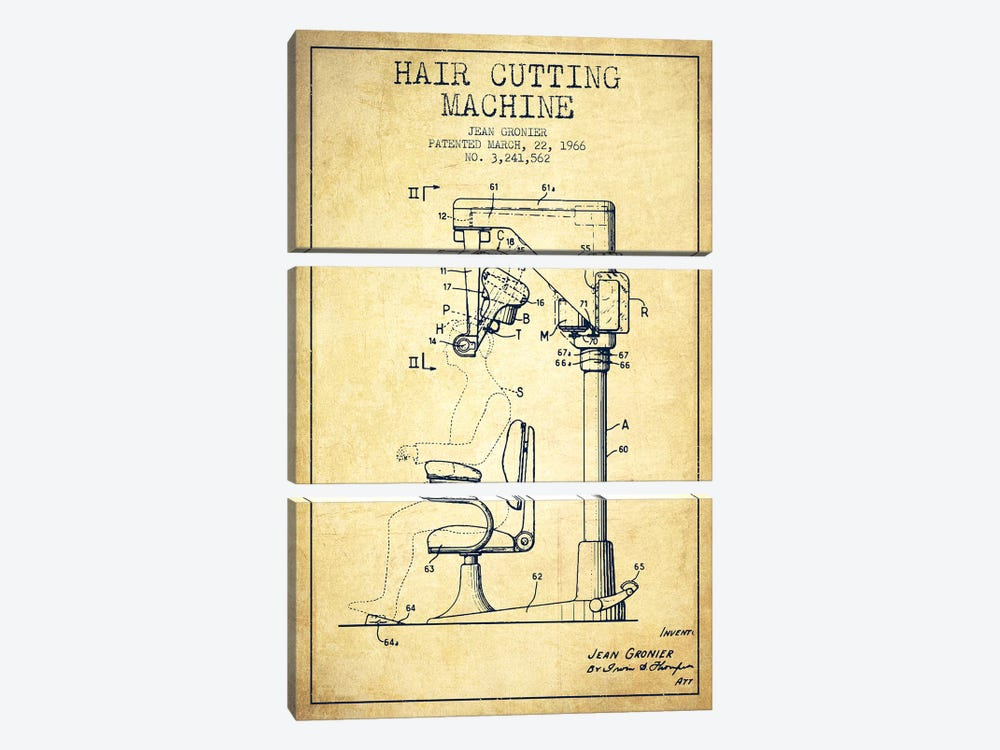 Automatic Heir Cutting Vintage Patent Blueprint by Aged Pixel 3-piece Canvas Art Print