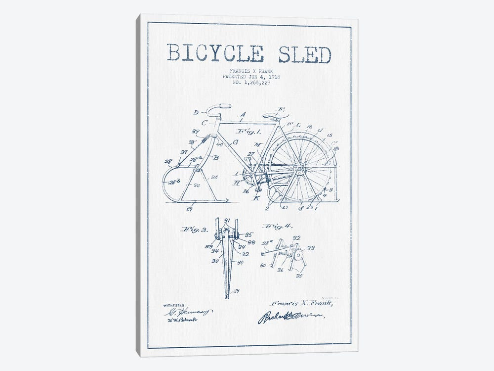 Francis X. Frank Bicycle Sled Patent Sketch (Ink) 1-piece Canvas Print