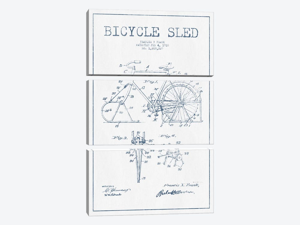 Francis X. Frank Bicycle Sled Patent Sketch (Ink) 3-piece Art Print