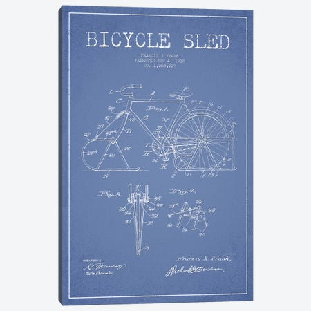 Francis X. Frank Bicycle Sled Patent Sketch (Light Blue) Canvas Print #ADP2881} by Aged Pixel Canvas Artwork