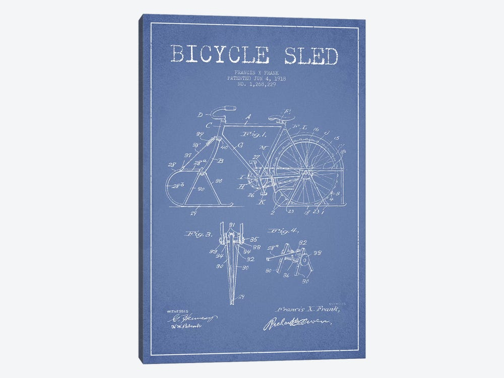 Francis X. Frank Bicycle Sled Patent Sketch (Light Blue) by Aged Pixel 1-piece Canvas Art