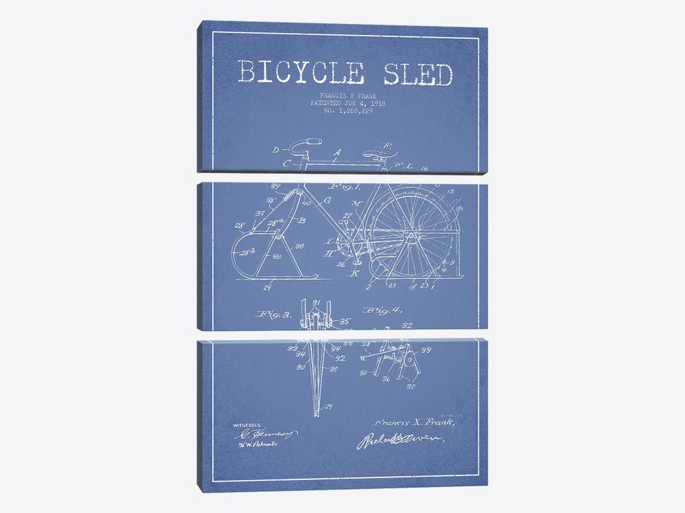 Francis X. Frank Bicycle Sled Patent Sketch (Light Blue) by Aged Pixel 3-piece Canvas Wall Art