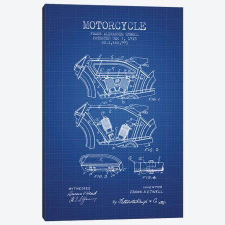 Frank A. Etwell Motorcycle Patent Sketch (Blue Grid) Canvas Print #ADP2882} by Aged Pixel Canvas Art