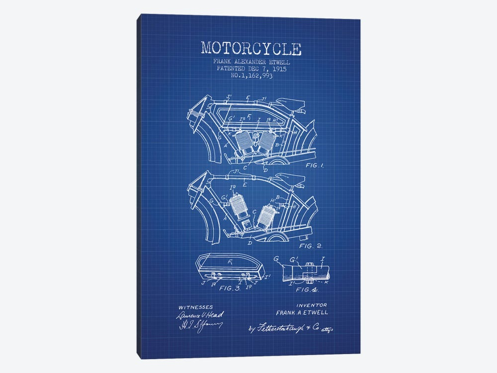 Frank A. Etwell Motorcycle Patent Sketch (Blue Grid) by Aged Pixel 1-piece Canvas Art Print