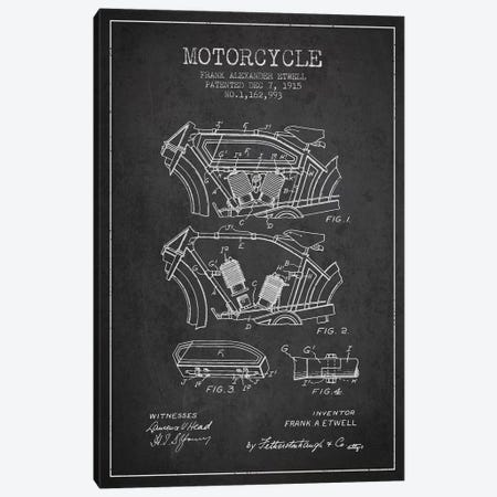 Frank A. Etwell Motorcycle Patent Sketch (Charcoal) Canvas Print #ADP2883} by Aged Pixel Canvas Artwork