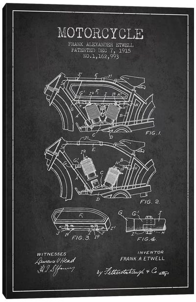 Frank A. Etwell Motorcycle Patent Sketch (Charcoal) Canvas Art Print