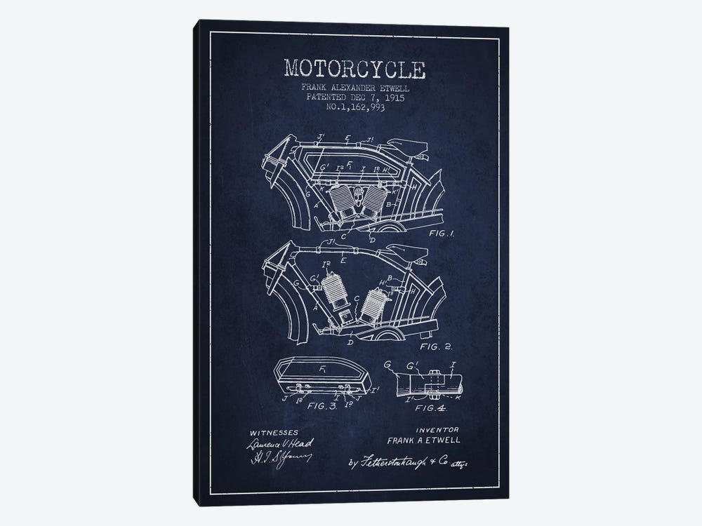 Frank A. Etwell Motorcycle Patent Sketch (Navy Blue) by Aged Pixel 1-piece Canvas Wall Art
