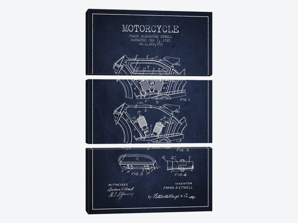 Frank A. Etwell Motorcycle Patent Sketch (Navy Blue) by Aged Pixel 3-piece Canvas Artwork