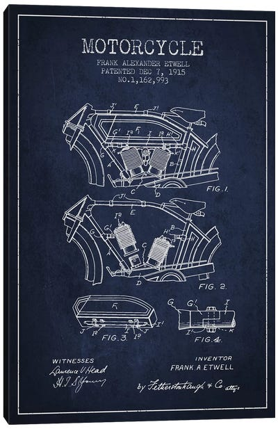 Frank A. Etwell Motorcycle Patent Sketch (Navy Blue) Canvas Art Print