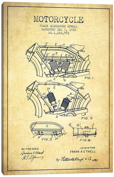 Frank A. Etwell Motorcycle Patent Sketch (Vintage) Canvas Art Print