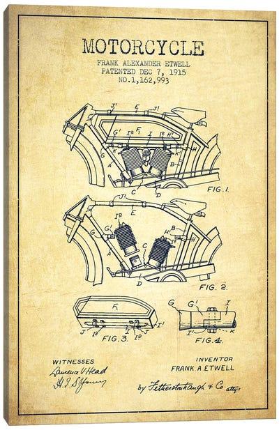 Frank A. Etwell Motorcycle Patent Sketch (Vintage) Canvas Art Print