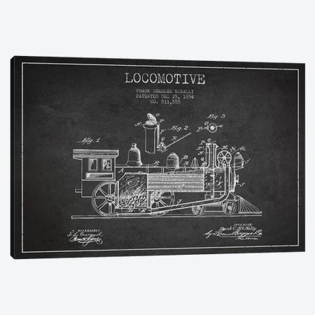 Frank C. McNally Locomotive Pattern Sketch (Charcoal) Canvas Print #ADP2887} by Aged Pixel Canvas Print