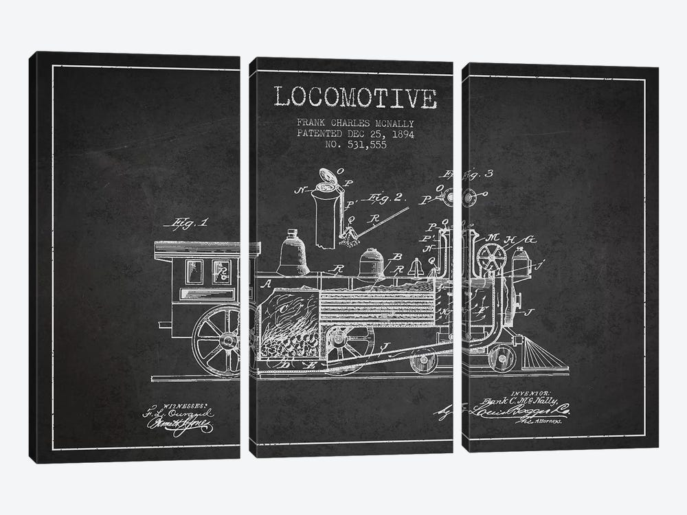 Frank C. McNally Locomotive Pattern Sketch (Charcoal) by Aged Pixel 3-piece Canvas Wall Art