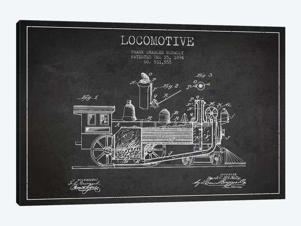 Frank C. McNally Locomotive Pattern Sketch (Charcoal) by Aged Pixel 1-piece Canvas Art