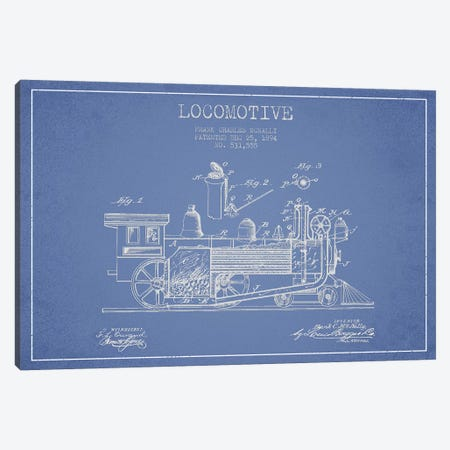 Frank C. McNally Locomotive Pattern Sketch (Light Blue) Canvas Print #ADP2888} by Aged Pixel Canvas Artwork