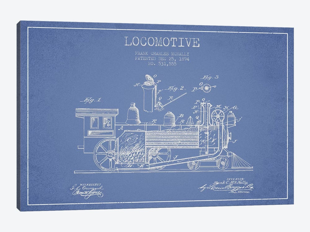 Frank C. McNally Locomotive Pattern Sketch (Light Blue) by Aged Pixel 1-piece Canvas Art Print