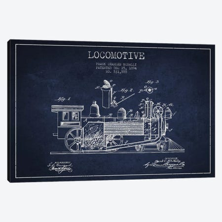 Frank C. McNally Locomotive Pattern Sketch (Navy Blue) Canvas Print #ADP2889} by Aged Pixel Canvas Art