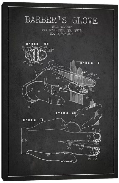Barber's Glove Charcoal Patent Blueprint Canvas Art Print