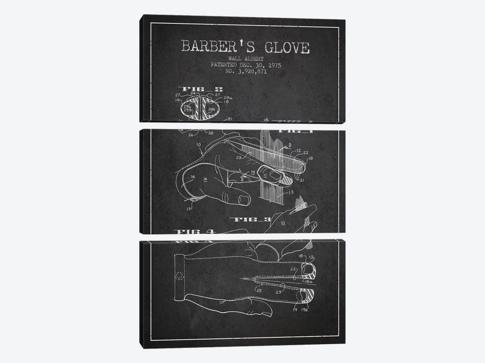 Barber's Glove Charcoal Patent Blueprint by Aged Pixel 3-piece Canvas Artwork