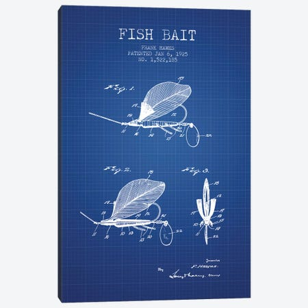 Frank Hawes Fish Bait Patent Sketch (Blue Grid) Canvas Print #ADP2890} by Aged Pixel Art Print