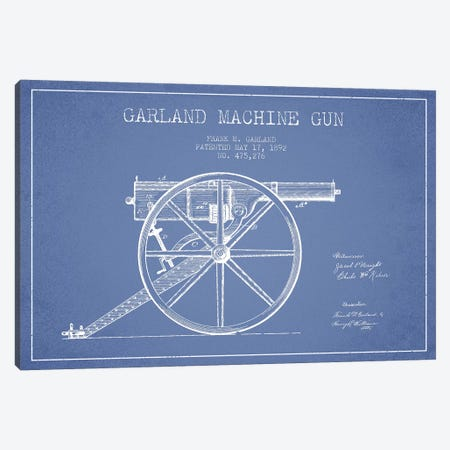 Frank M. Garland Garland Machine Gun Patent Sketch (Light Blue) Canvas Print #ADP2891} by Aged Pixel Canvas Art Print