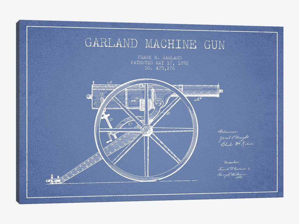 Frank M. Garland Garland Machine Gun Patent Sketch (Light Blue) by Aged Pixel 1-piece Canvas Print
