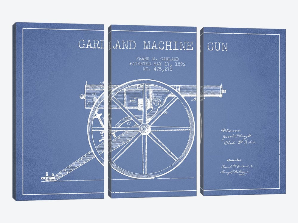 Frank M. Garland Garland Machine Gun Patent Sketch (Light Blue) by Aged Pixel 3-piece Art Print