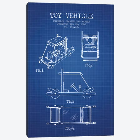 Franklin Van Karsen Flintstone Toy Car Patent Sketch (Blue Grid) Canvas Print #ADP2892} by Aged Pixel Canvas Print