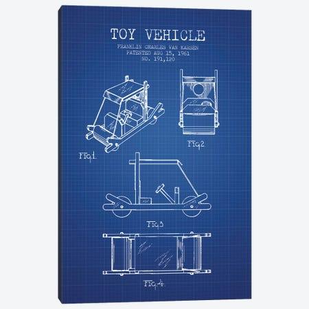 Franklin Van Karsen Flintstone Toy Car Patent Sketch (Blue Grid) Canvas Print #ADP2892} by Aged Pixel Canvas Print