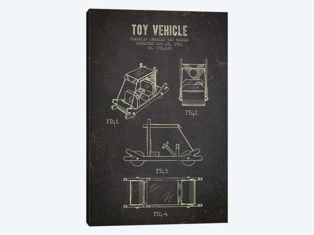 Franklin Van Karsen Flintstone Toy Car Patent Sketch (Charcoal) by Aged Pixel 1-piece Art Print