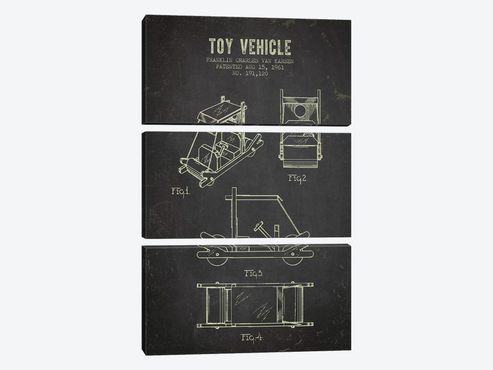 Franklin Van Karsen Flintstone Toy Car Patent Sketch (Charcoal) by Aged Pixel 3-piece Canvas Print